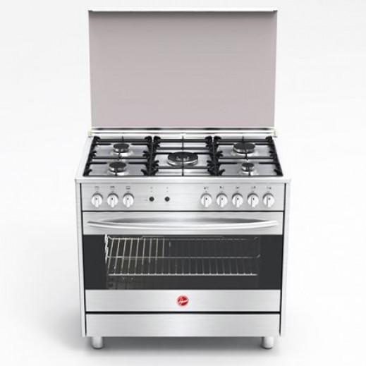 هوفر – طباخ غاز 5 شعلة 90 × 60 سم ستانلس ستيل – فضي - يتم التوصيل بواسطة Jashanmal & Partners خلال ثلاثة أيام عمل