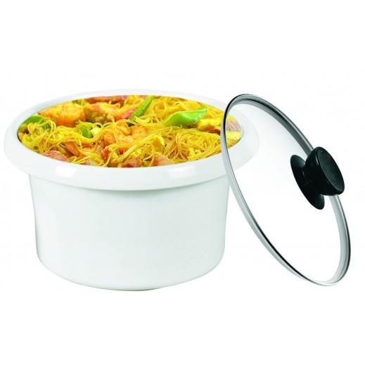 وعاء سيراميك لتقديم الطعام مع غطاء زجاجي - أبيض