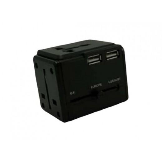 أميركان توريستر - محول عالمي للسفر مع 3 منافذ USB - أسود