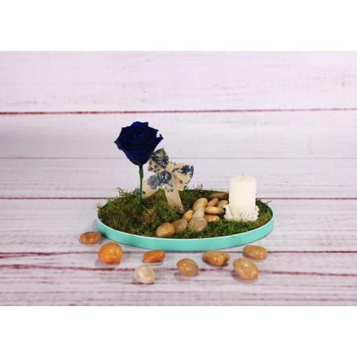 زهرة الجوري الزرقاء الخالدة - يتم التوصيل بواسطة Gate Of Flowers