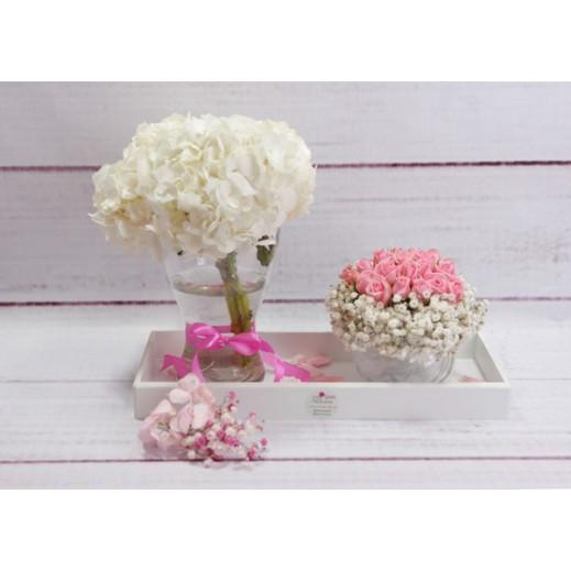 صينيه من زهور الجبسوفيليا و البيبي روز الوردي - يتم التوصيل بواسطة Gate Of Flowers