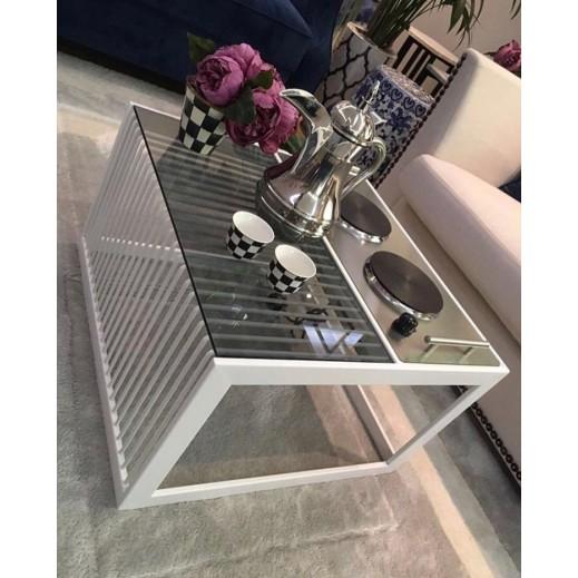 طاولة مع دوة كهرباء - لون أبيض  - يتم التوصيل بواسطة Siwaj