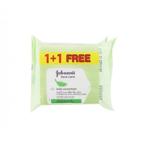 جونسون – مناديل مُبللة منظفة وموازنة للوجه 1+1 مجاناً (50 حبة) – عرض خاص