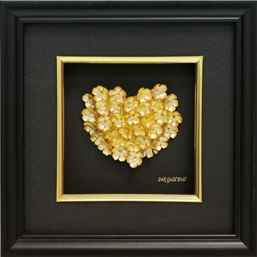 كيو بيست - قلب 3D مصنوع من ورق الذهب 24 قيراط