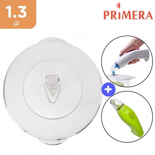 برايميرا - حافظة مأكولات يدوية عن طريق شفط الهواء + وعاء شفط 1.3 لتر + غطاء شفط عالمي 20 سم