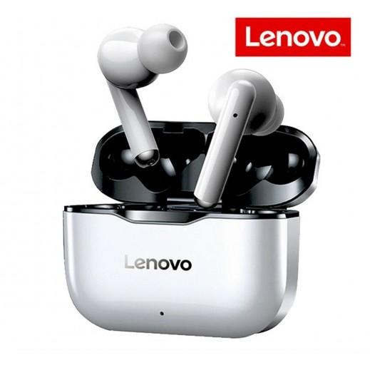 لينوفو - سماعة أذن لاسلكية مع علبة الشحن – ابيض