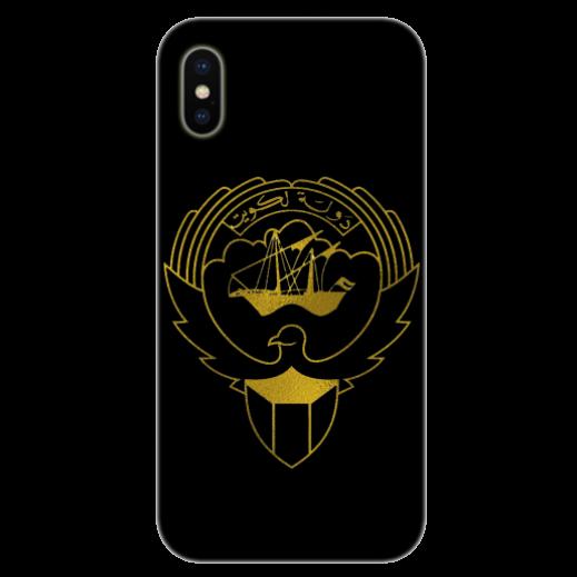 غطاء أسود للهاتف مع تصميم ذهبى مخصص لشعار دولة الكويت - يتم التوصيل بواسطة Berwaz.com