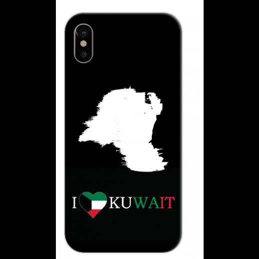 غطاء أسود للهاتف - I Love Kuwait - يتم التوصيل بواسطة Berwaz.com