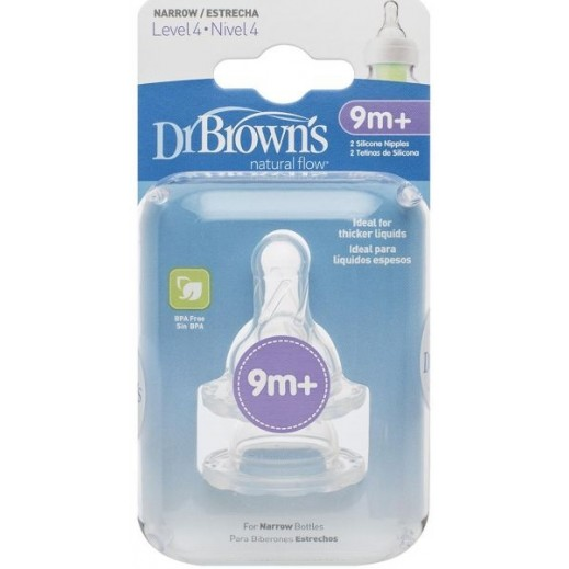 دكتور براونز – حلمة رضاعة ضيقة من السيليكون مستوى 4 (+9 أشهر) -2 حبة