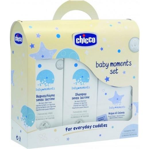 شيكو - رغوة استحمام لا دموع بعد اليوم من Baby Moments حجم 200 مل + شامبو لا دموع 200 مل + كولونيا 100 مل