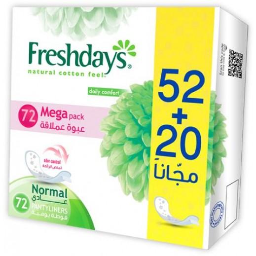 فريشدايز - فوط الراحة اليومية العادية ببطانة داخلية 72 فوطة
