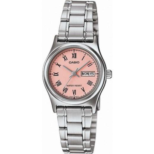 كاسيو - ساعة يد للسيدات استانلس استيل بعقارب وخلفية اطار وردي - يتم التوصيل بواسطة Veerup General Trading