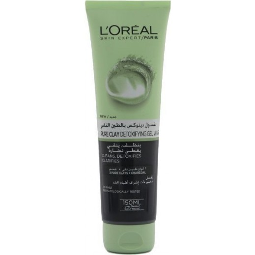 L'Oreal Pure Clay Charcoal Detoxifying Gel Wash 150 ml