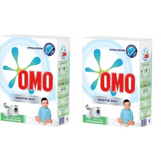 """أومو - مسحوق الغسيل """"""""Auto Fabric للغسالات الأوتوماتيك للبشرة الحساسة 2 × 2.5 كجم"""