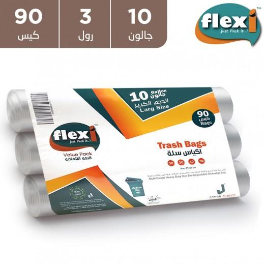 فليكسي -  أكياس قمامة 10 جالون - 90 كيس