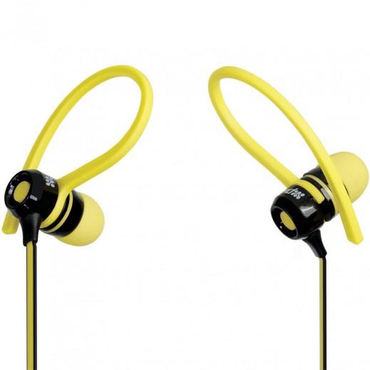 بروميت JAZZY سماعات في الاذن ستيريو رياضية متعددة التوافق مع مشبك حول الاذن وزر تحكم في السلك لون اصفر