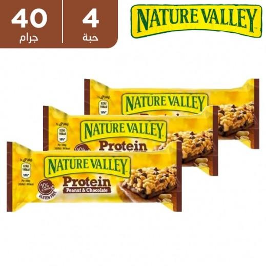 نيتشر فالي - قالب 10 جم بروتين بالشوكولاته وزبدة الفول السوداني خالي من الغلوتين 4 × 40 جم