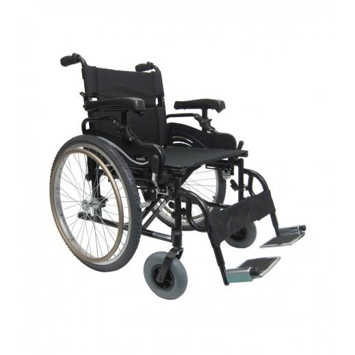 كارما - كرسي متحرك يدوي خفيف للأوزان الثقيلة سعة 150 كجم - أسود - يتم التوصيل بواسطة التوصيل بعد يومين عمل  بواسطة العيسى