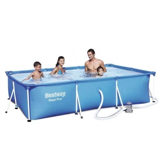 بيست واي  - حمام سباحة مستطيل أزرق (300 × 201 × 66 سم) - يتم التوصيل بواسطة النصر الرياضي خلال 3 أيام عمل