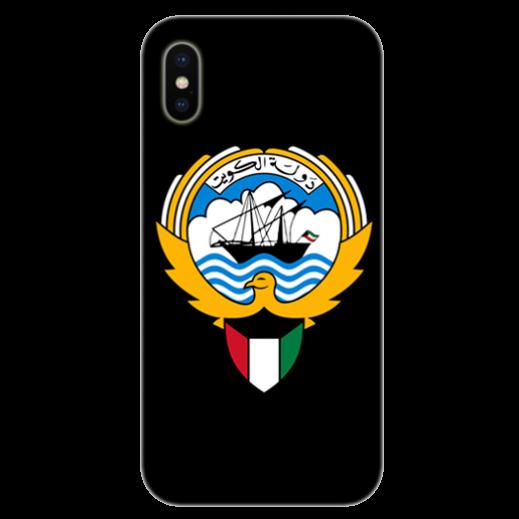 غطاء أسود للهاتف مع تصميم مخصص لشعار دولة الكويت - يتم التوصيل بواسطة Berwaz.com
