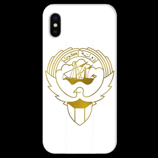 غطاء ذهبى للهاتف مع تصميم مخصص لشعار دولة الكويت - يتم التوصيل بواسطة Berwaz.com