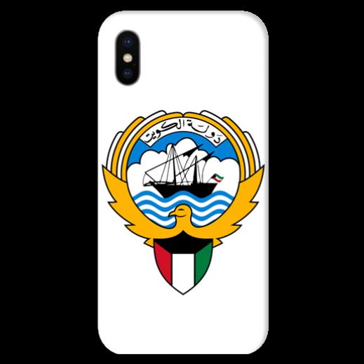 غطاء أبيض للهاتف مع تصميم مخصص لشعار دولة الكويت - يتم التوصيل بواسطة Berwaz.com