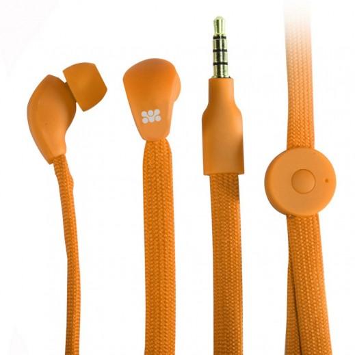 بروميت LACEY سماعات اذن عصرية مع كيبل مبسط وميكروفون مدمج   - برتقالي