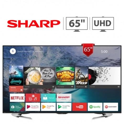 شارب – تلفزيون ذكي 65 بوصة UHD 4K LED فائق الجودة – أسود - يتم التوصيل بواسطة EASA HUSSAIN AL YOUSIFI & SONS COMPANY