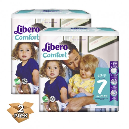 ليبرو – حفاضات أطفال كومفرت فيت المرحلة 7 (16 - 26 كجم) 2 × 40 حبة