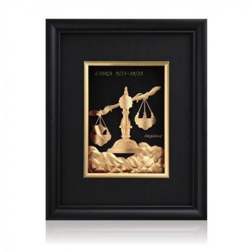 كيو بيست – رمز برج الميزان ذهبي عيار 24 ثلاثي الأبعاد