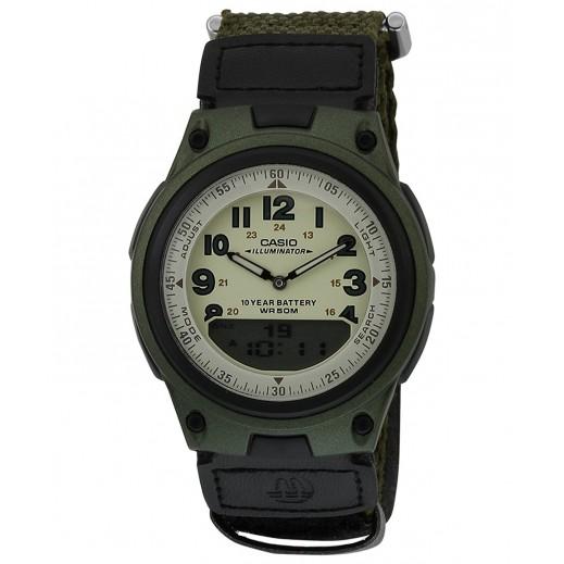 كاسيو - ساعة يد رجالي بعقارب وأرقام بسوار قماش - يتم التوصيل بواسطة Veerup General Trading