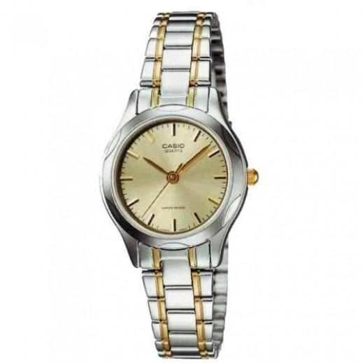 كاسيو - ساعة يد للسيدات استانلس استيل بعقارب وإطار ذهبي