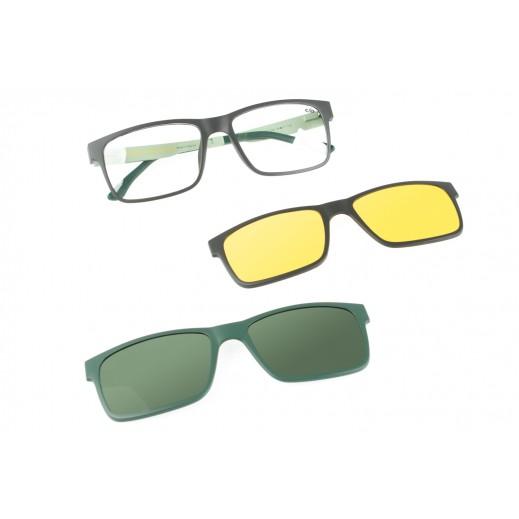 تشيلي بينز - نظارة شمسية للرجال مع عدسات قابلة للتبديل - أخضر / رمادي  - يتم التوصيل بواسطة F3 Sunglasses