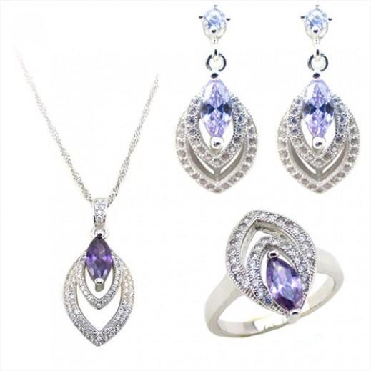 يما – طقم مجوهرات من الفضه عيار 925 مرصع بمكعبات الزركون 11.28 جم