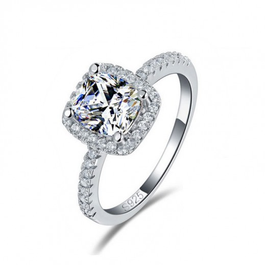 يما - خاتم زفاف من الفضة النقي 925 مرصع بفص زركون 4 قيراط موديل M01390 (مقاس 7)