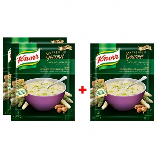 كنور - شوربة كريمة الهليون الأبيض والأخضر 40 جم (2 + 1 مجاناً)