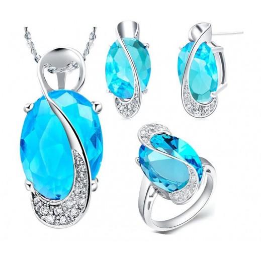 طقم مجوهرات للزفاف من الفضه 925 مزين بمكعب زركون أزرق (موديل M01130)