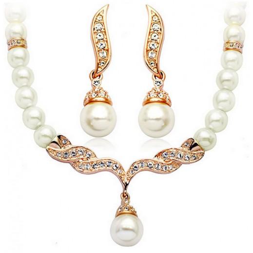 طقم مجوهرات على شكل طقم الملكة ويليام كيت مزين باللؤلؤ ومطلي بذهب عيار 18 (موديل M01142)