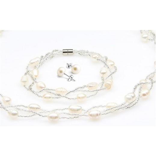 يما - طقم مجوهرات من 3 قطع (سوار + عقد + قرط ) من الفضة النقي 925 مرصع باللؤلؤ موديل M01437