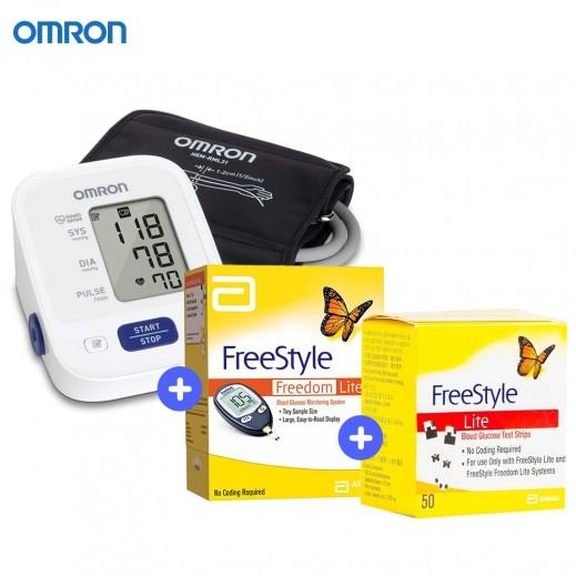 اومرون - جهاز قياس ضغط + حزمة اختبار سكر الدم