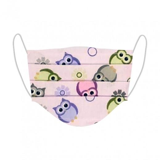 مزاجي - قناع وجه الاطفال المعقم بتصميم البومة اللطيفة الوردية