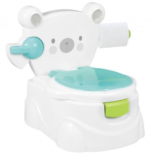 مرحاض الطفل بتصميم حيوان الدب - اللون الأزرق
