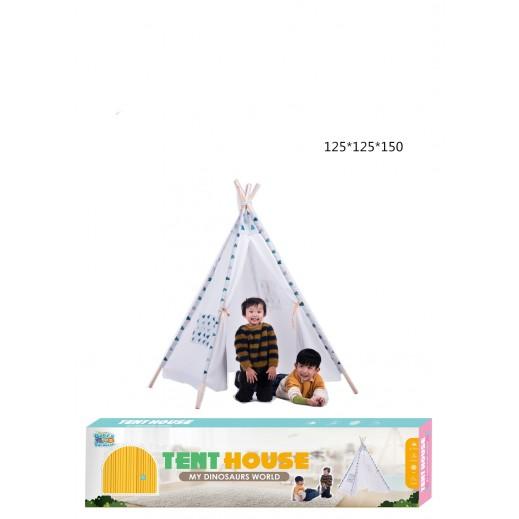 بيت الخيمة - 125 × 125 × 150 سم - أبيض / أزرق
