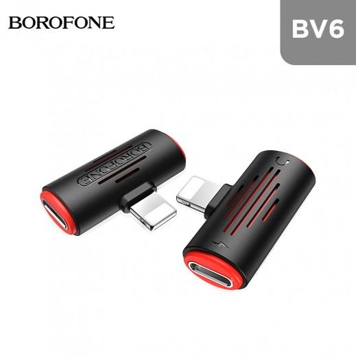 بوروفون - محول الصوت الرقمي لهواتف الآيفون - أسود وأحمر