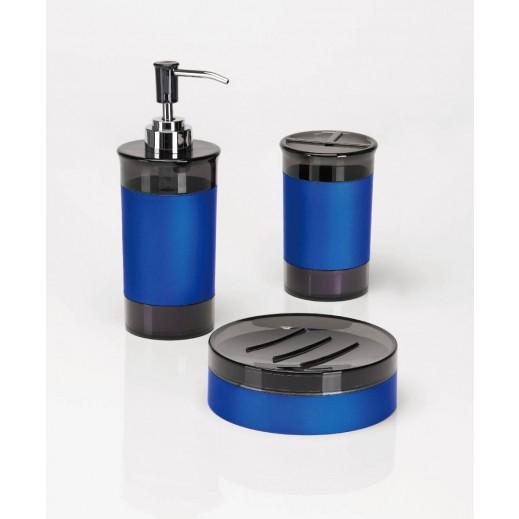 3 قطع باللون الأزرق من اكسسوارات الحمام