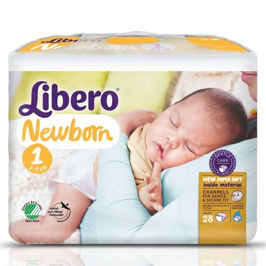 """ليبرو - حفاضات """"نيو بورن"""" لحديثي الولادة المرحلة 1  (2- 5 كجم) - 28 حبة"""