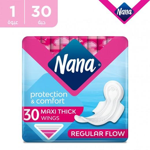 نانا فوط صحية ماكسي حجم عادي بالأجنحة 30 فوطة