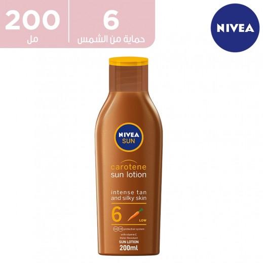 لوشن الشمس لاكتساب السمرة، صن كاروتين من نيڤيا، فيتامين إي، بعامل الحماية SPF 6، 200 مل