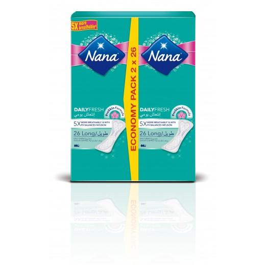 """نانا - فوط صحية """"الإنتعاش اليومي"""" حجم طويل - العبوة الإقتصادية (2 × 26 فوطة)"""