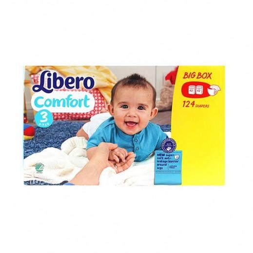 """ليبرو – حفاضات أطفال """"كومفورت"""" المرحلة 3 (5 - 9 كجم) - 2 عبوة × 62 حبة – عرض خاص"""